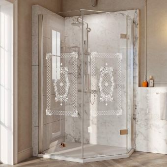 Roman Decem Victoriana Print Neo Angle Shower Enclosure