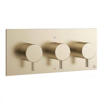 Crosswater MPRO Brushed Brass Horizontal 3 Handle Shower Valve