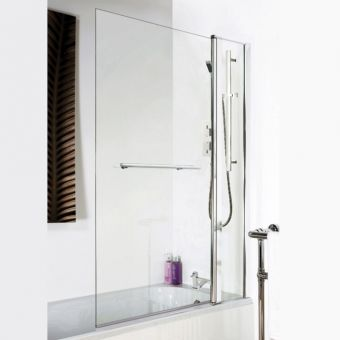 UK Bathrooms Essentials Square Bath Screen with Fixed Panel and Rail