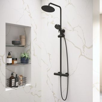 Origins Black Exposed Shower with Overhead and Handset - YES1B