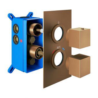 Abacus Emotion Brushed Bronze Square Thermostatic Shower Valve