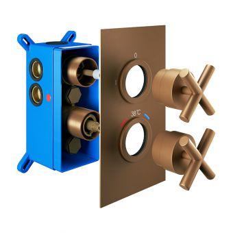 Abacus Emotion Brushed Bronze Cross handle Thermostatic Shower Valve