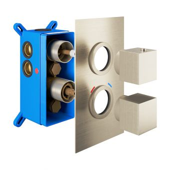Abacus Emotion Brushed Nickel Square Thermostatic Shower Valve