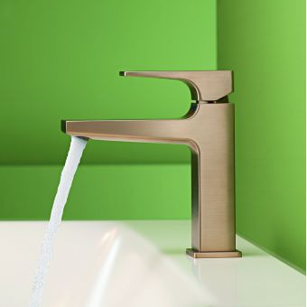 hansgrohe Metropol Single Lever Basin Mixer 110 with CoolStart and push open waste in Brushed Bronze
