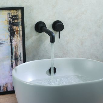 Crosswater MPRO Industrial Wall Mounted 2 hole basin set in Carbon Black