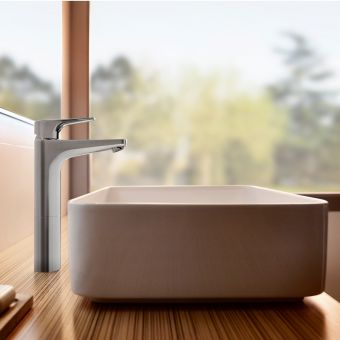 Roca Atlas Extended Height Smooth Basin Mixer Tap - 5A3790C0R