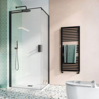 Crosswater Design 8 Matt Black Inline Hush Pivot Door with Side Panel and Tray