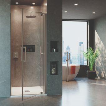 Crosswater Optix 10 Brushed Stainless Steel Pivot Shower Door