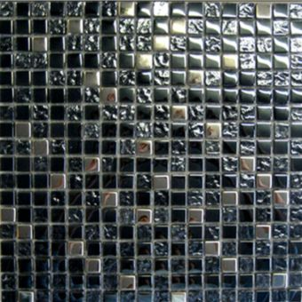 Abacus Mixed Square Black and Chrome Small Mosaic Tile 30 x 30cm - TLSM-15-1005