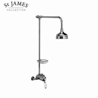 St James Exposed Manual Shower Valve with Riser Rail and Soap Basket