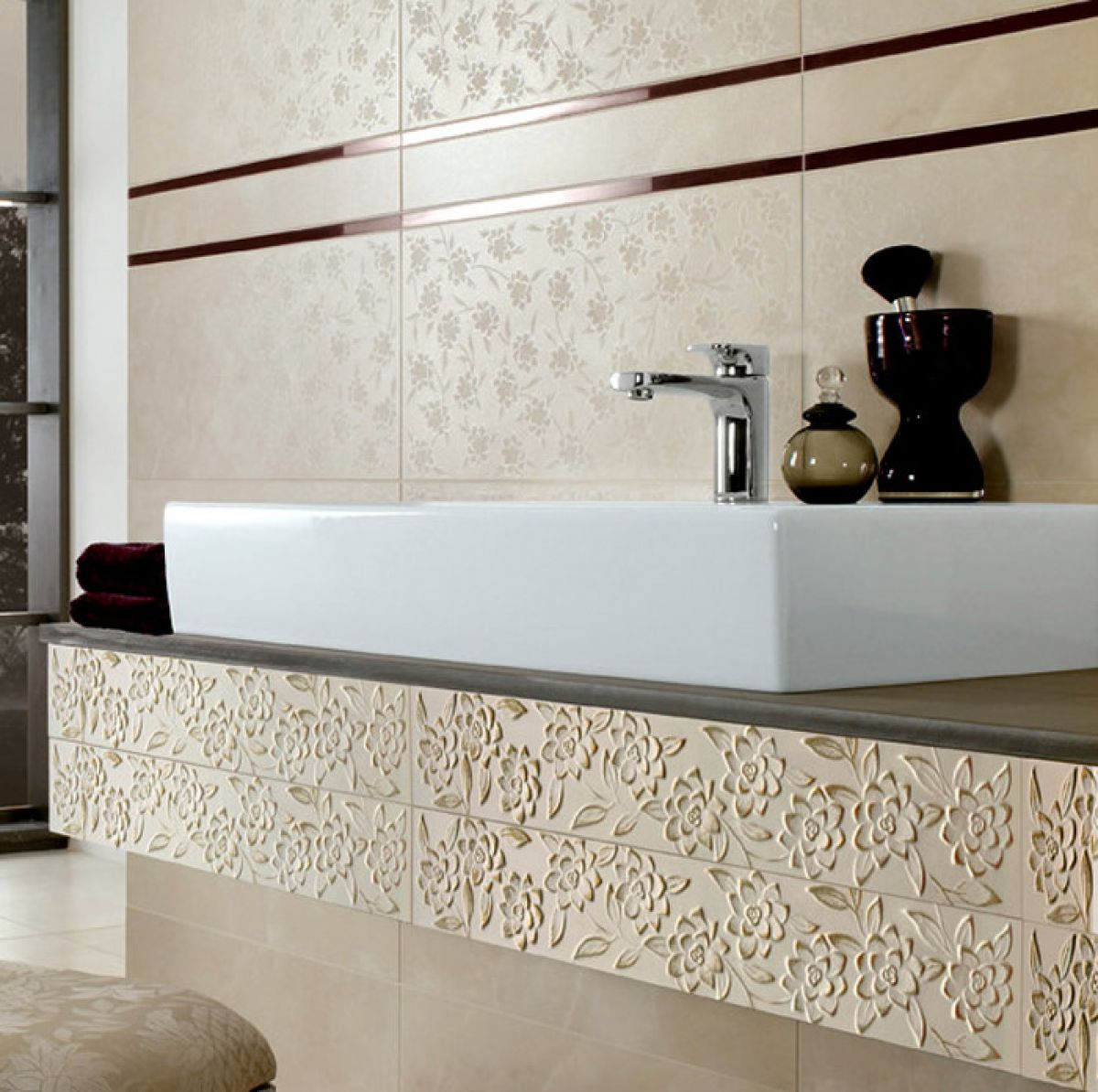 photos of bathroom tile designs v amp b ivoire border tile 1503 10 x 60cm uk bathrooms 23977