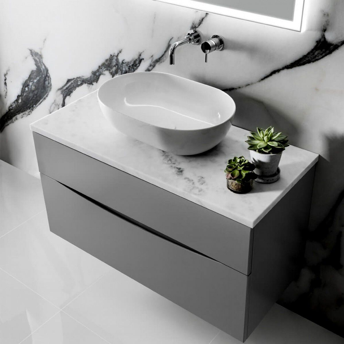 Crosswater Glide Ii Wall Hung Vanity Unit And Marble