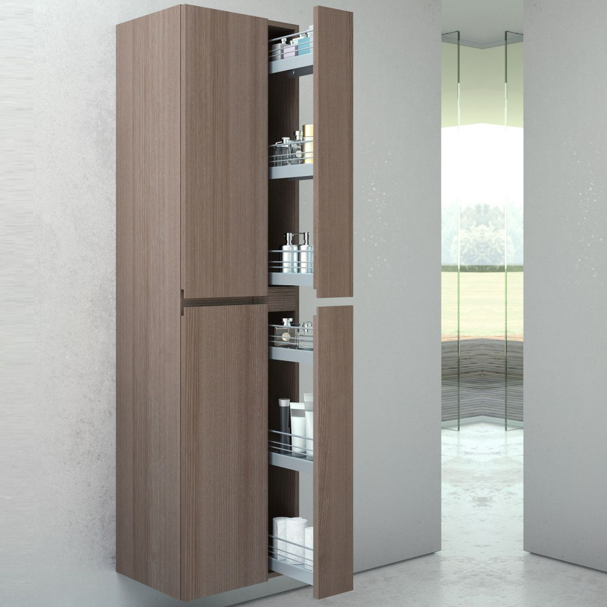 Vitra memoria tall cabinet with pull out storage uk - Bathroom cabinet organizers pull out ...