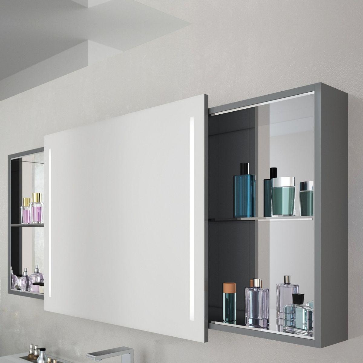 Surprising Vitra Memoria Illuminated Mirror Cabinet With Sliding Door Home Interior And Landscaping Oversignezvosmurscom