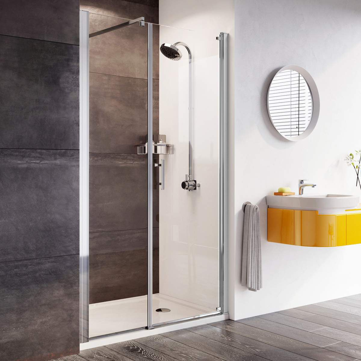 Roman Innov8 Pivot Shower Door With In Line Panel For Alcove Installation