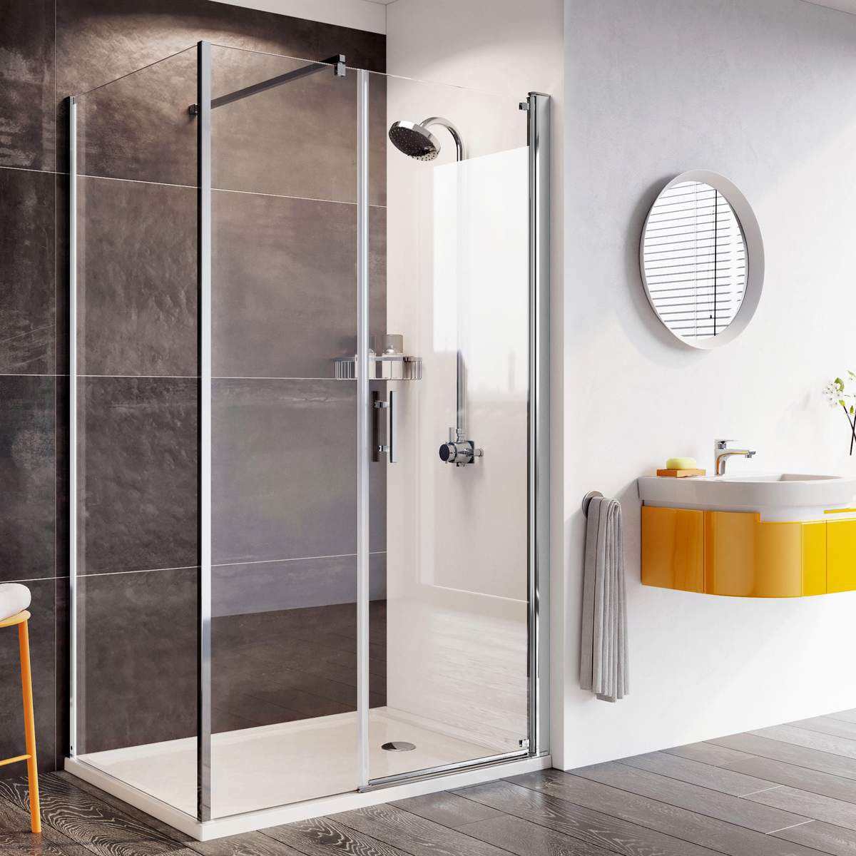 Roman Innov8 Pivot Shower Door With In Line Panel For