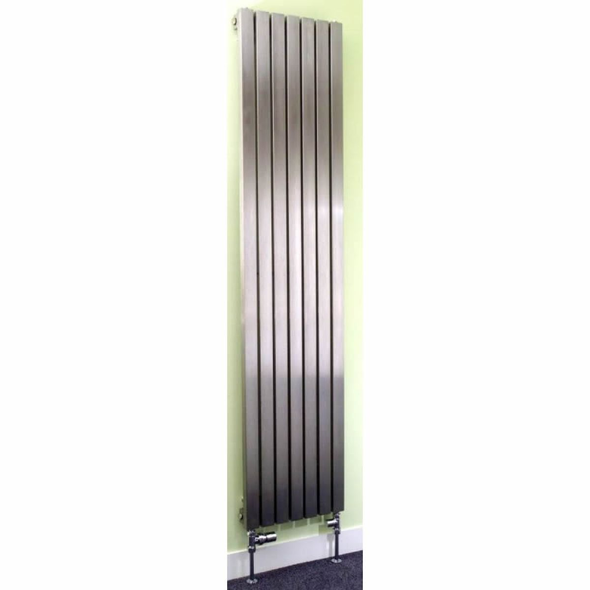 apollo ferrara brushed stainless steel vertical radiator. Black Bedroom Furniture Sets. Home Design Ideas