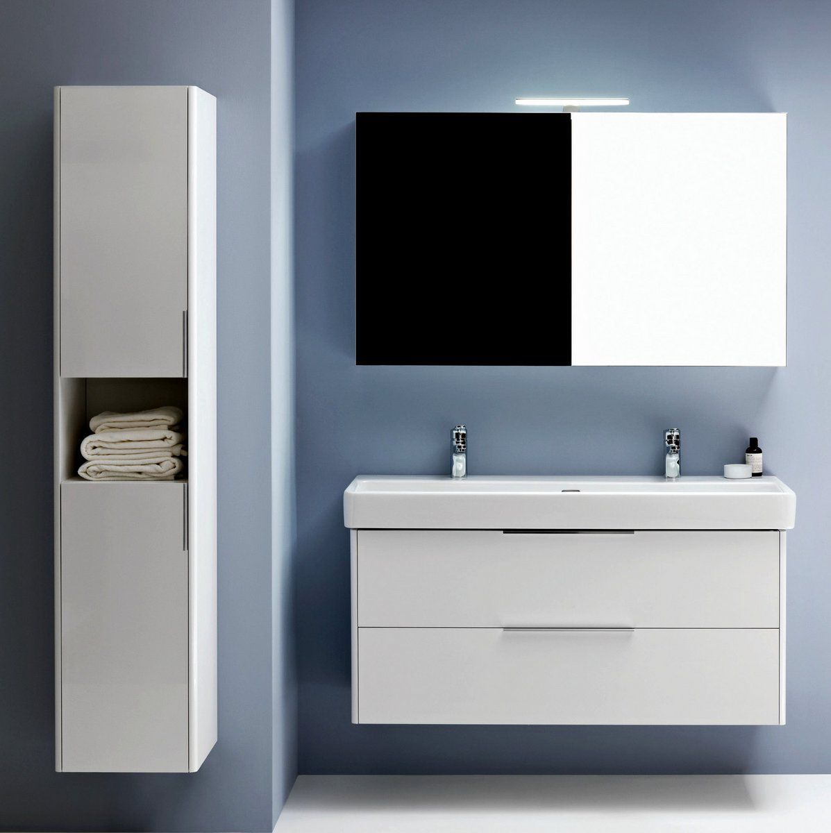 Laufen Base Tall Cabinet With Two Doors And Open Shelf Uk Bathrooms