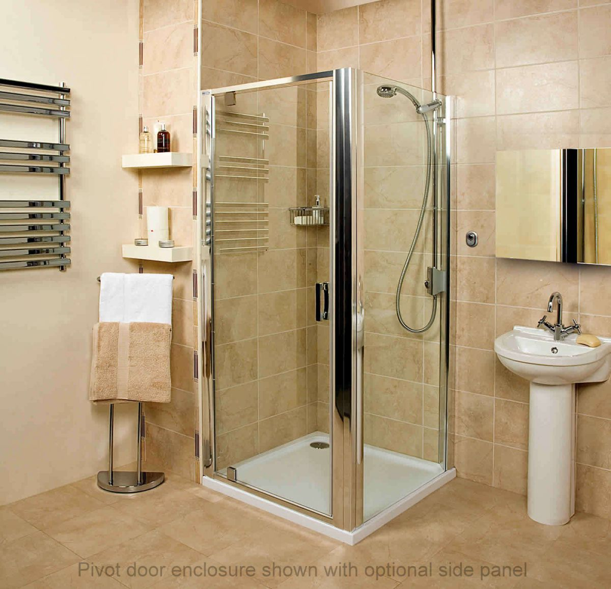 roman embrace pivot door shower enclosure uk bathrooms. Black Bedroom Furniture Sets. Home Design Ideas