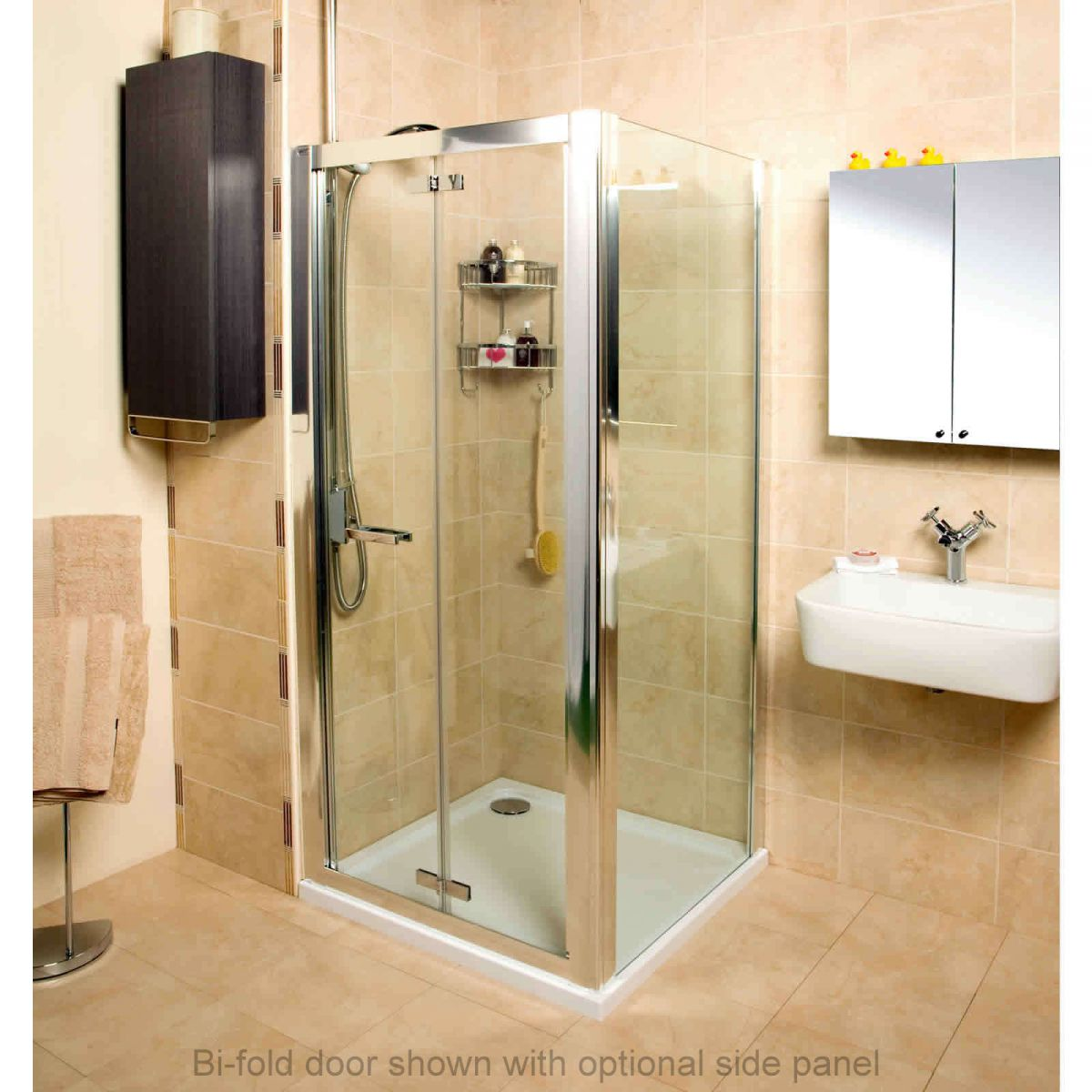 roman embrace bi fold door shower enclosure uk bathrooms. Black Bedroom Furniture Sets. Home Design Ideas