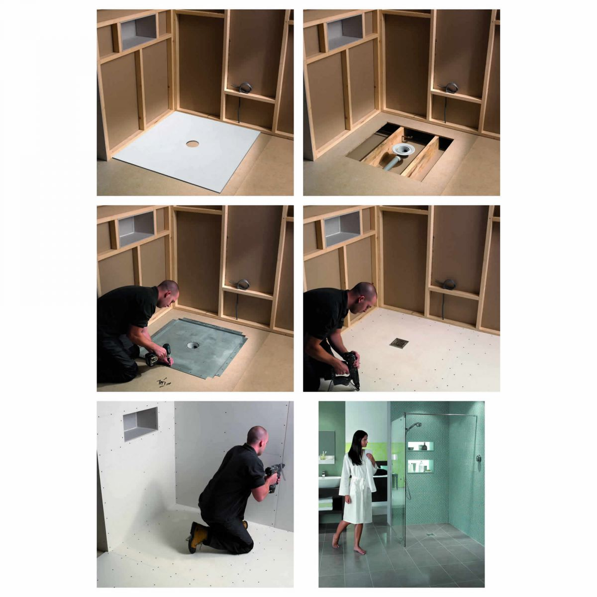 Kudos aqua4ma wetroom shower base for tiling 900 x 900mm for How to fit a wet room floor