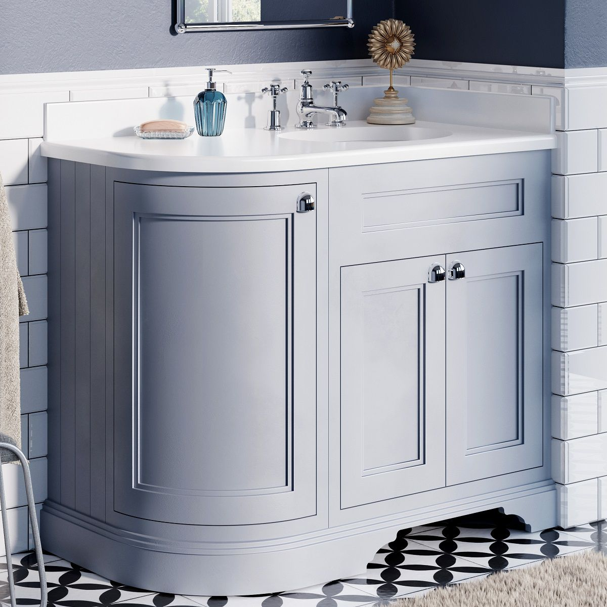 Burlington 1000mm Curved Corner Vanity Unit Uk Bathrooms