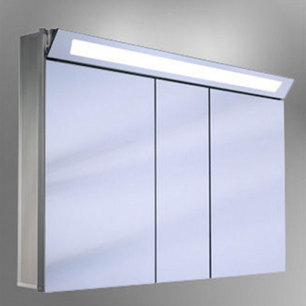 Schneider capeline triple door illuminated mirror cabinet uk bathrooms for Illuminated mirrors for bathrooms