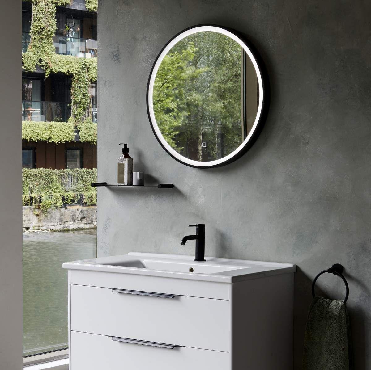 Britton Frame Black Mirror with LED Rim Lighting