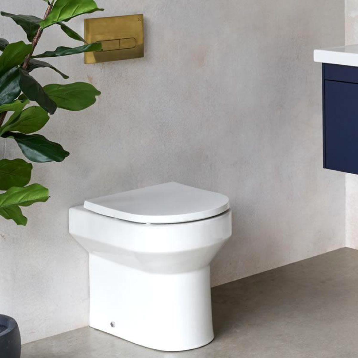 Britton Shoreditch Round Rimless Back to Wall Toilet with Soft Close Seat - SHR046