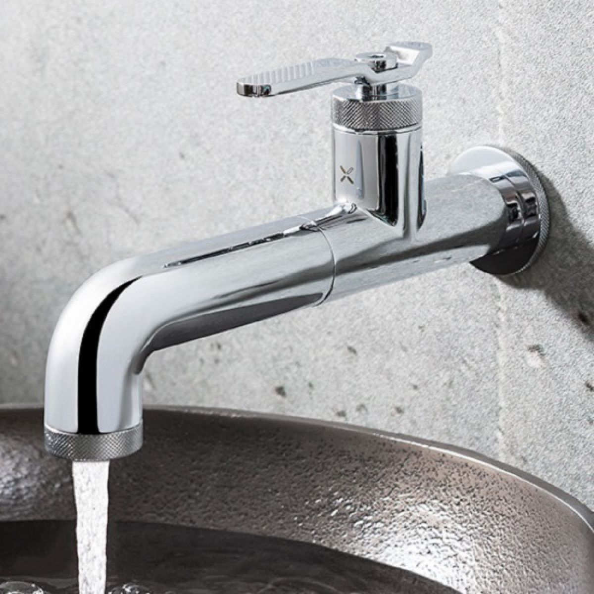 Crosswater Union Chrome Wall Basin Tap with Lever Handle