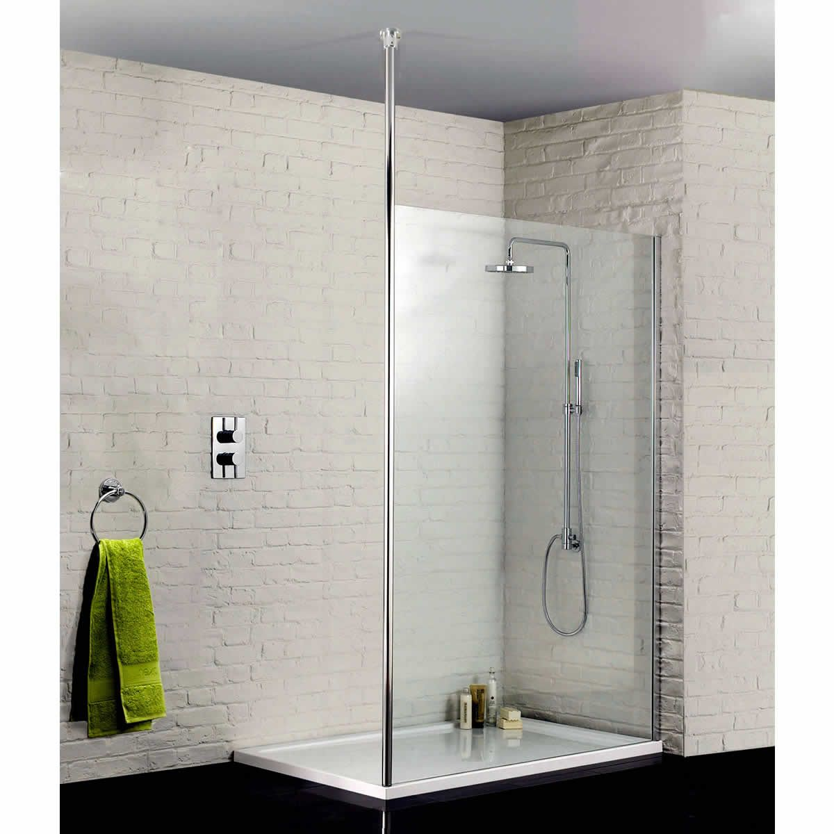 Sommer glass wetroom panel uk bathrooms Shower glass panel