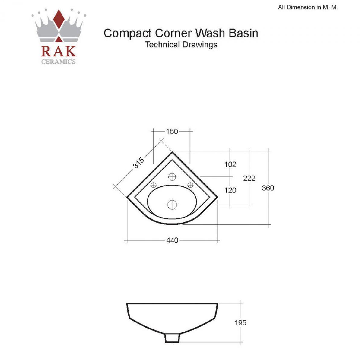RAK Compact Deluxe Corner Basin - 1 Tap Hole : UK Bathrooms