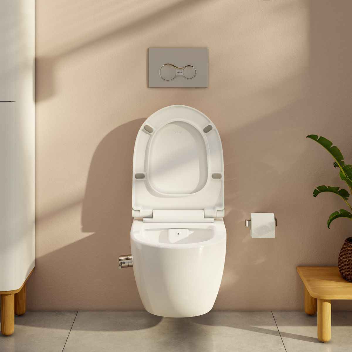 Vitra Aquacare Sento Rimless Wall Hung Bidet Toilet with Integrated Thermostatic Stop Valve - 77480036205