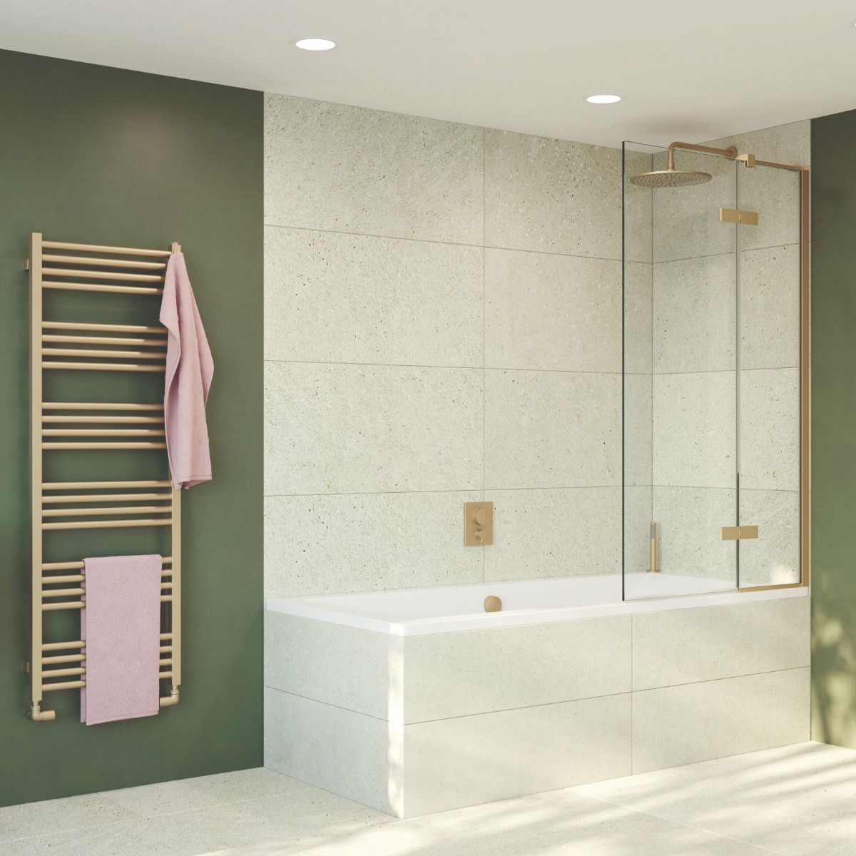Crosswater Optix 10 Brushed Brass Bath Shower Screen with Inline Panel - OXBDFC0900