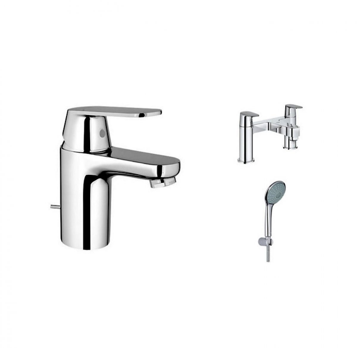 grohe eurosmart cosmo basin and bath shower mixer with. Black Bedroom Furniture Sets. Home Design Ideas