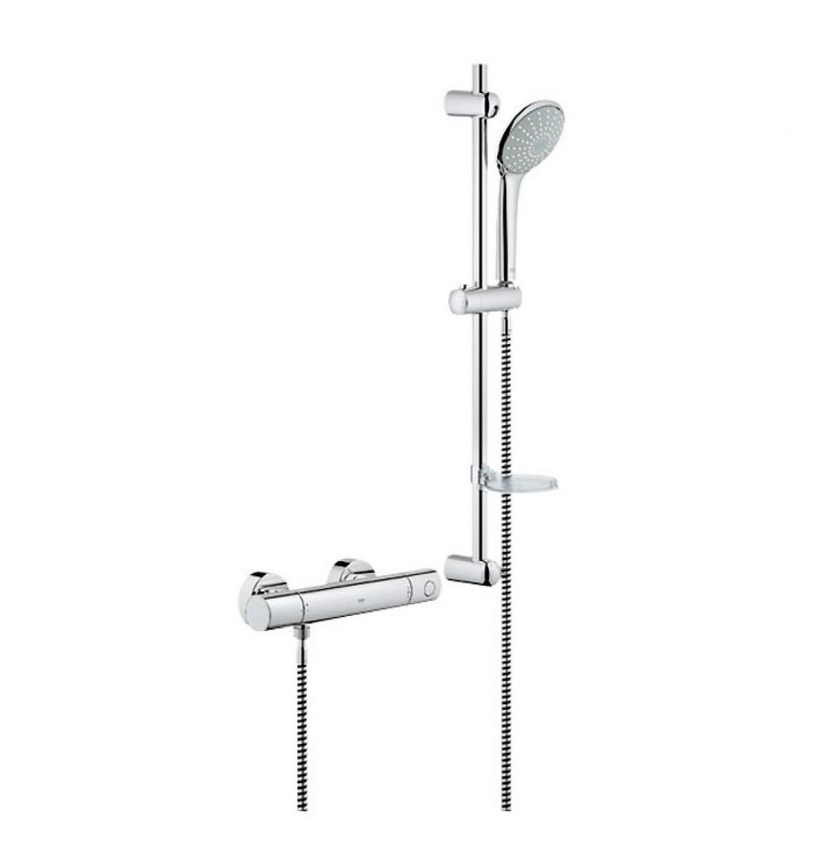grohe grohtherm 1000 cosmopolitan thermostatic shower valve with euphoria shower and rail uk. Black Bedroom Furniture Sets. Home Design Ideas