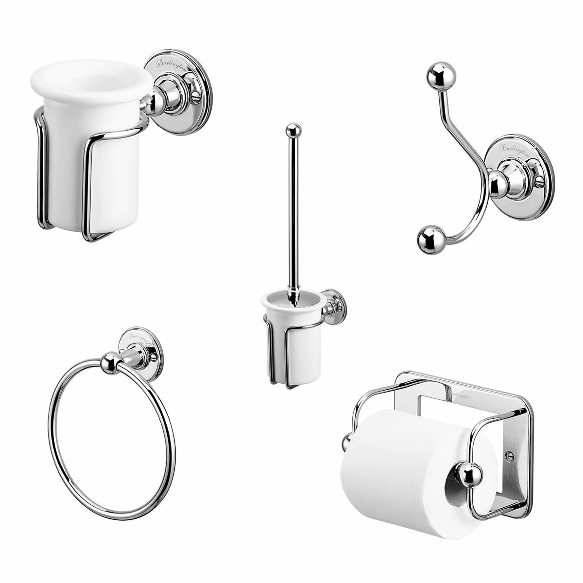 Burlington Classic 5 Piece Accessory Set : UK Bathrooms