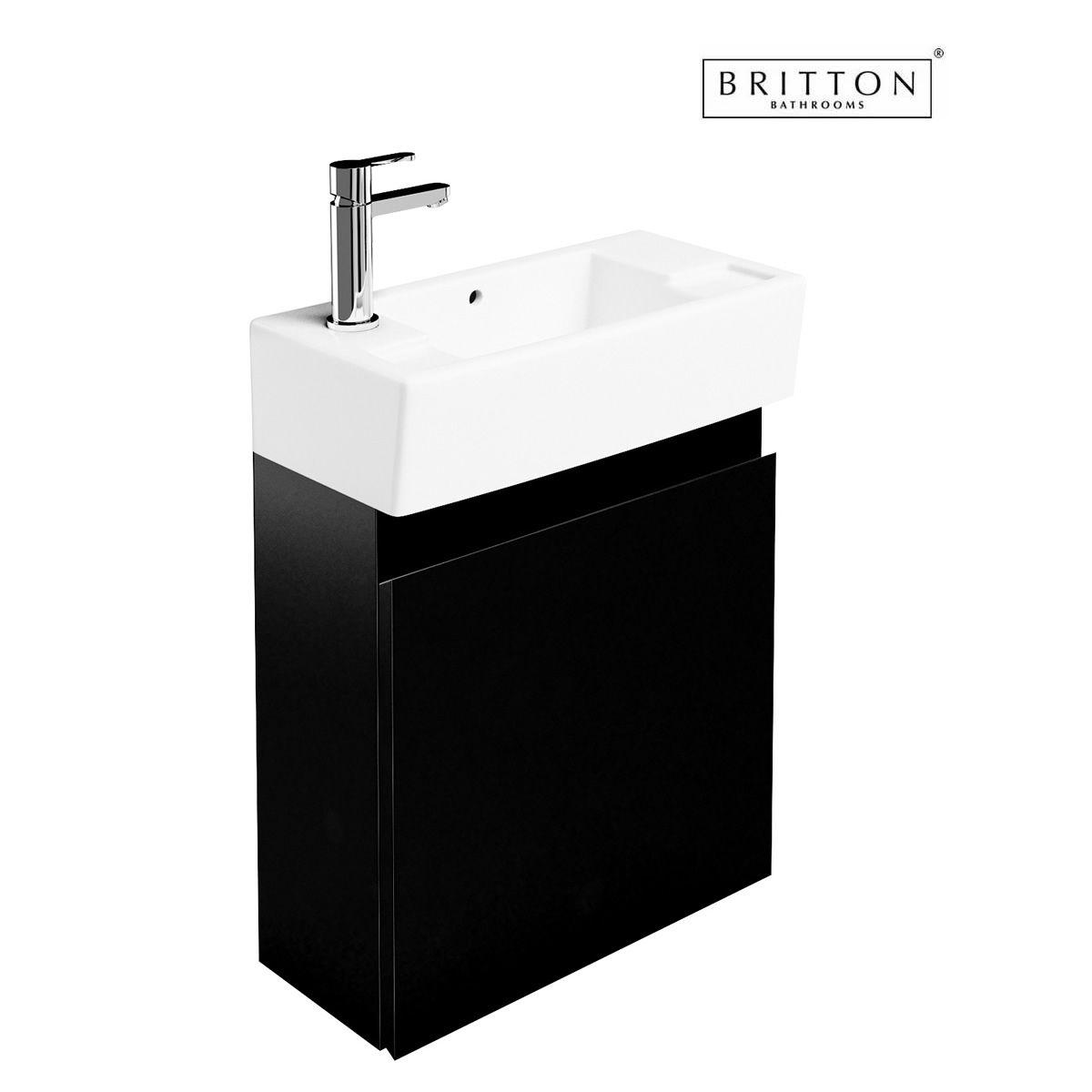 Britton narrow wall hung unit and washbasin uk bathrooms for Narrow bathroom unit