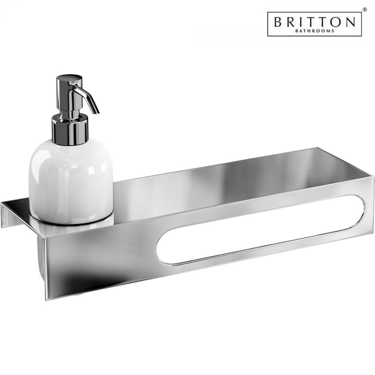 Towel Soap Dispenser ~ Britton stainless steel shelf with towel rail and soap
