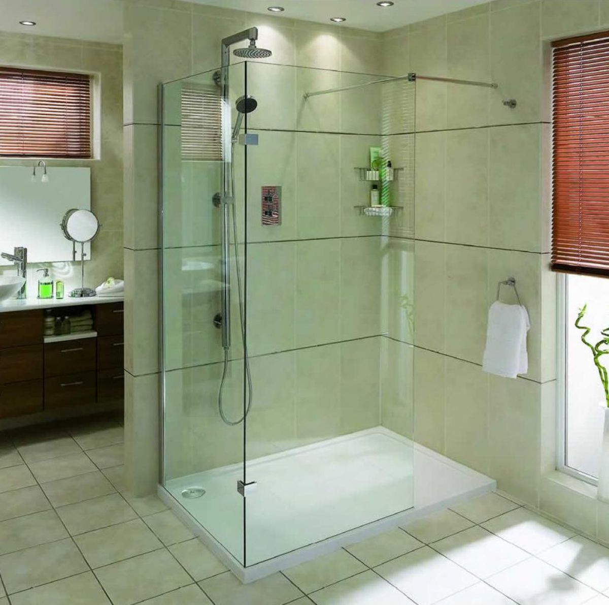 Aqata spectra walk in shower enclosure sp410 corner uk for Walk in shower plans and specs