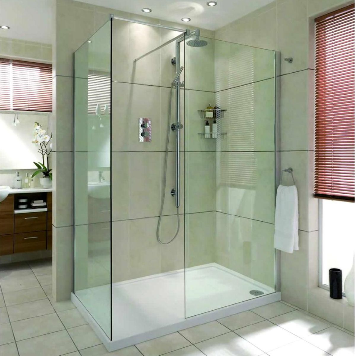 Aqata spectra walk in corner shower enclosure sp405 uk bathrooms - Walk in showers ...