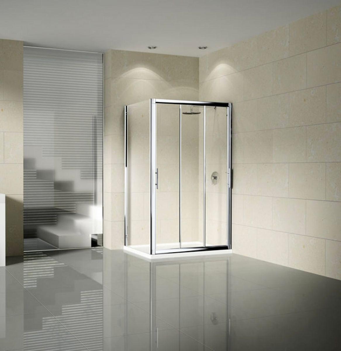 Novellini vision p three section sliding shower door for Novellini shower doors