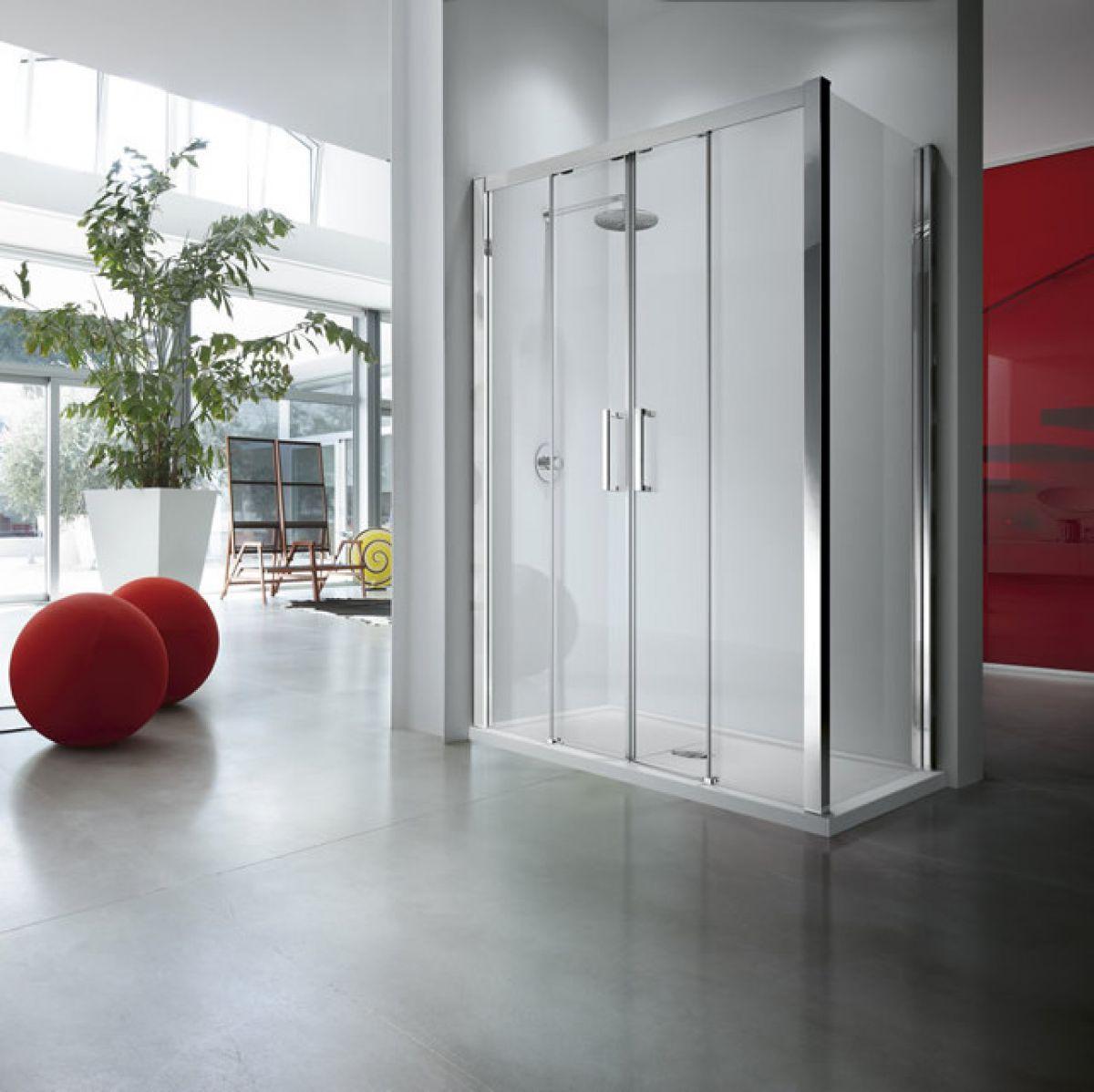 Novellini kuadra 2a double sliding shower door ukbathrooms for Novellini shower doors