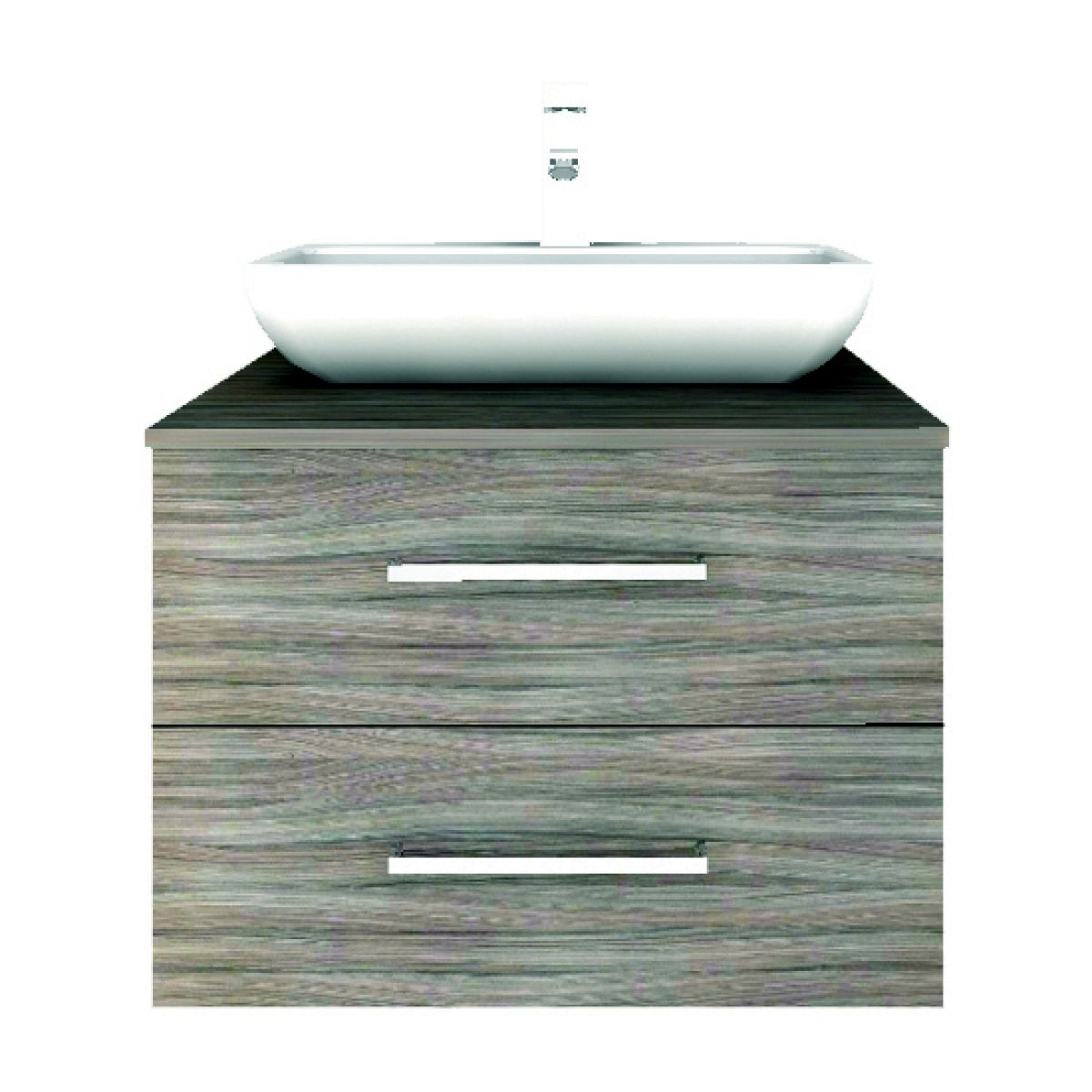 Shades Modular 600mm Double Drawer Unit And Countertop Basin UK Bathrooms
