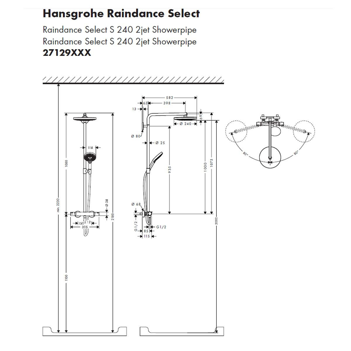 hansgrohe raindance select s 240 showerpipe 27129 uk. Black Bedroom Furniture Sets. Home Design Ideas