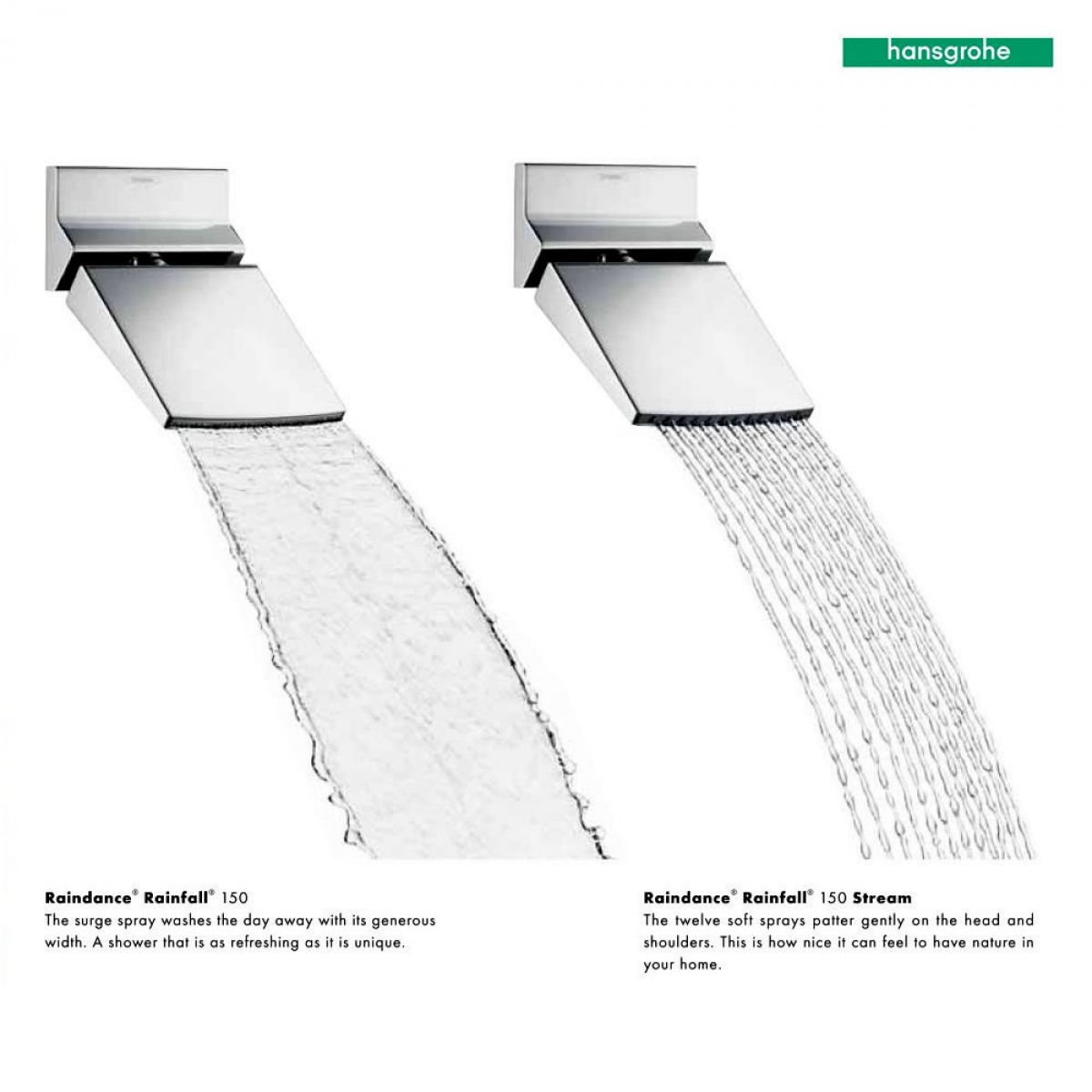 hansgrohe raindance rainfall 150 shower head uk bathrooms. Black Bedroom Furniture Sets. Home Design Ideas
