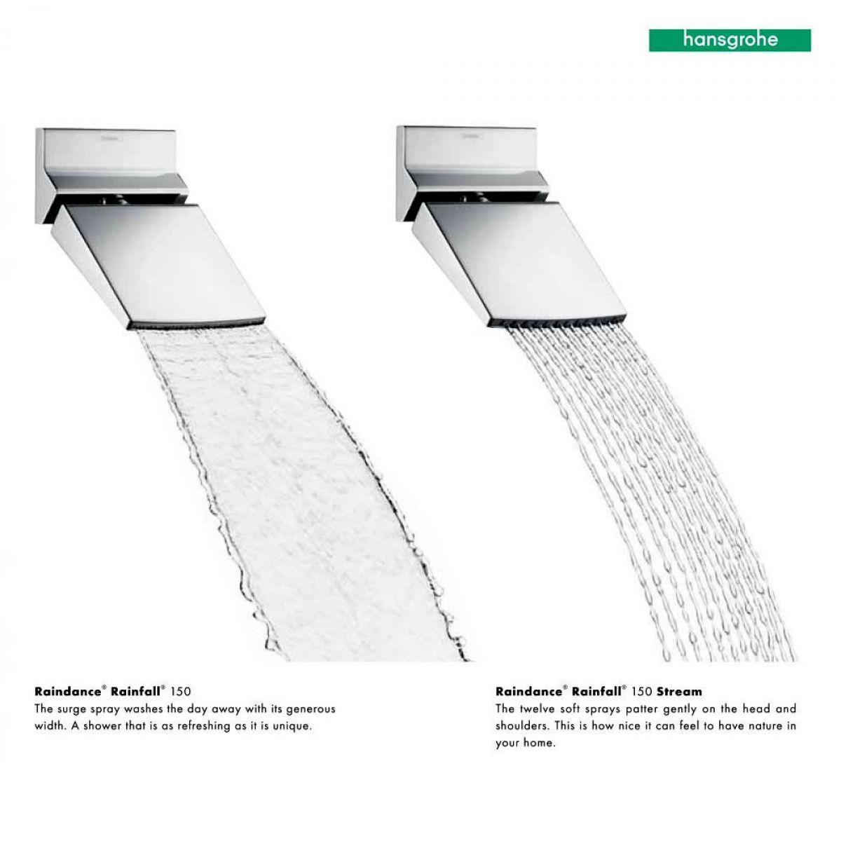 hansgrohe raindance rainfall 150 shower head uk bathrooms. Black Bedroom Furniture Sets. Home Design Ideas