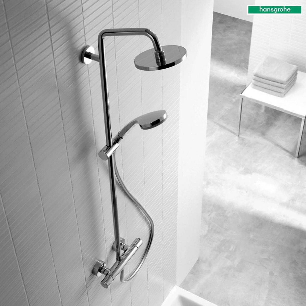 hansgrohe croma 160 showerpipe set 27135000 uk bathrooms. Black Bedroom Furniture Sets. Home Design Ideas