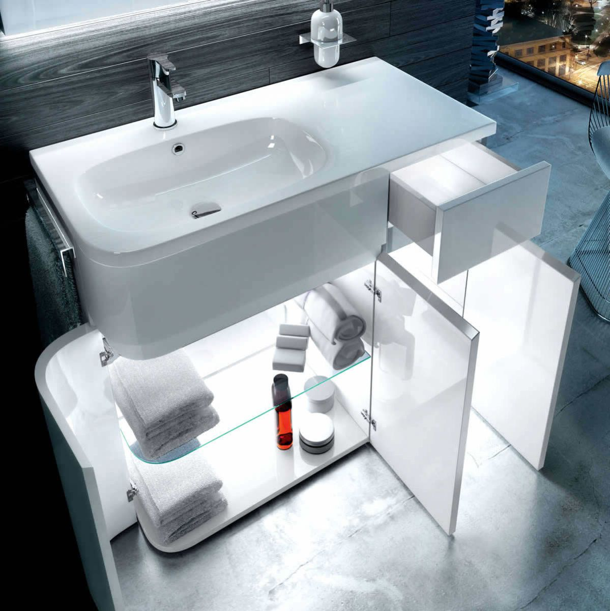 Aqua Cabinets D450 Arc Aqua Cabinets D450 Arc Bathroom Cabinet With Basin  900mm : UkBathrooms