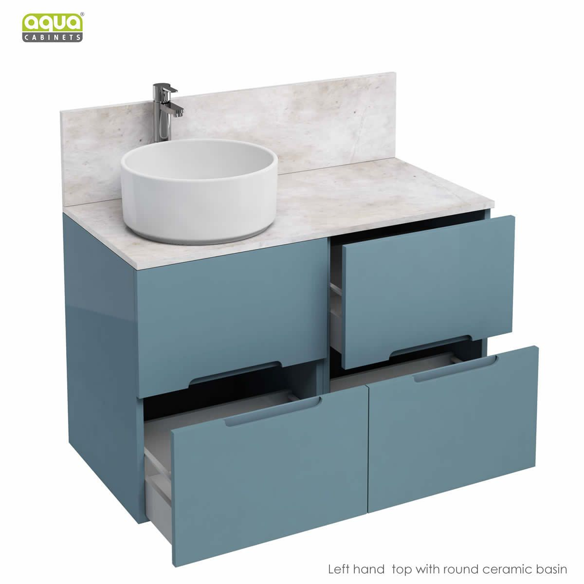Aqua Cabinets D1000 Freestanding Double Drawer Unit With